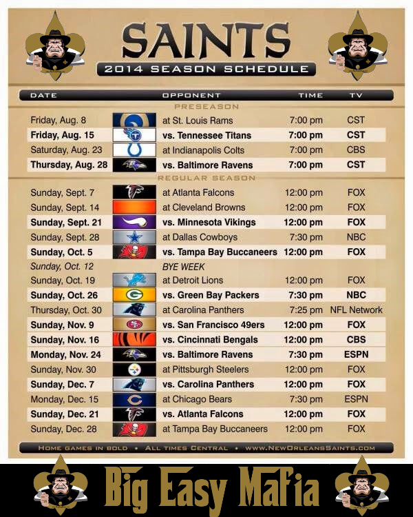 2014 Saints schedule