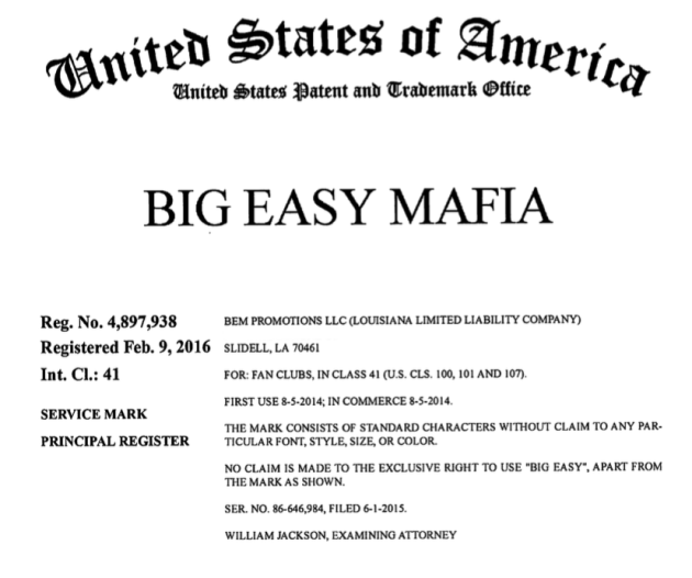 Big Easy Mafia Trademark