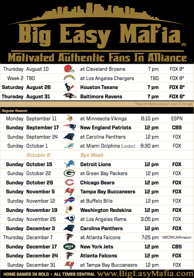 Saints Schedule 2017