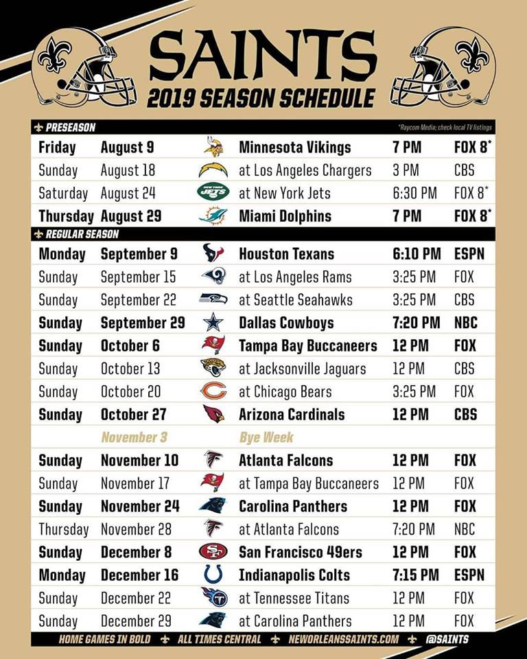 New Orleans Saints Schedule 2020 Printable.Big Easy Mafia Official Fan Club Of The Black And Gold